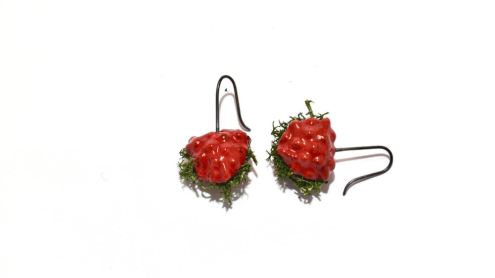 Egg Waffle Earrings - Red