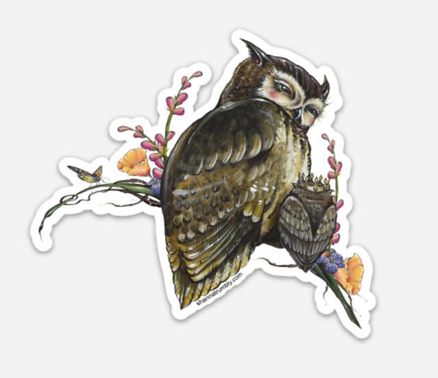 """Mama & Baby Owl Sticker 4"""" x 3"""""""