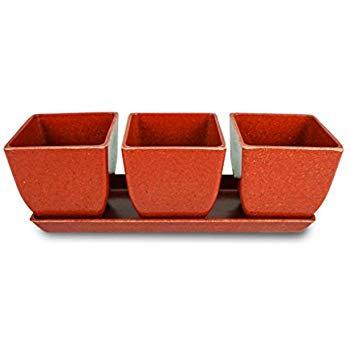 Eco-Friendly Rice Hull Pots - Quadra Trio (4 pc set) Coral
