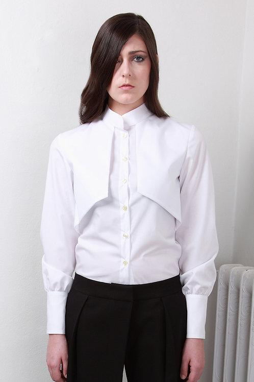 Camisa con cuello mao y solapas efecto chaleco