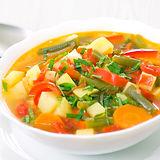 Fresh vegetable soup made of green bean,
