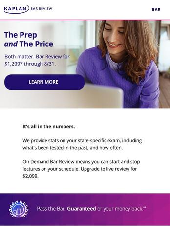Kaplan Bar Review email promo