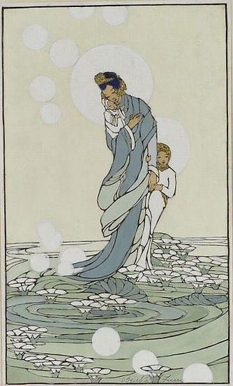 Lum, Sea of Lilies, 1929 Color woodcut,