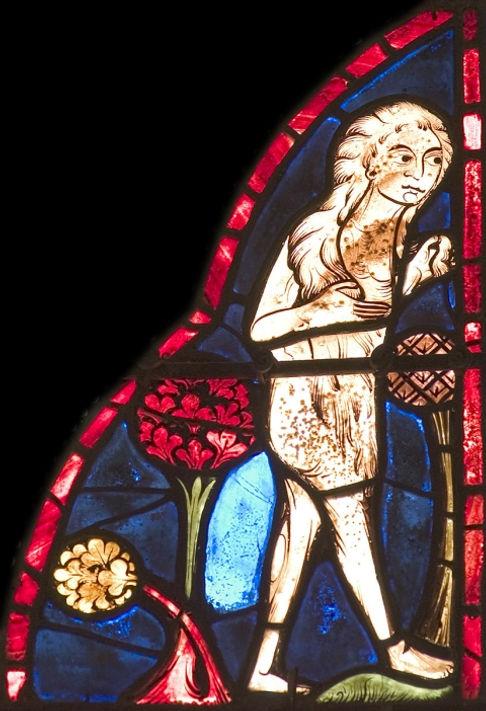 Vitrail de Marie l'Égyptienne nue dans l