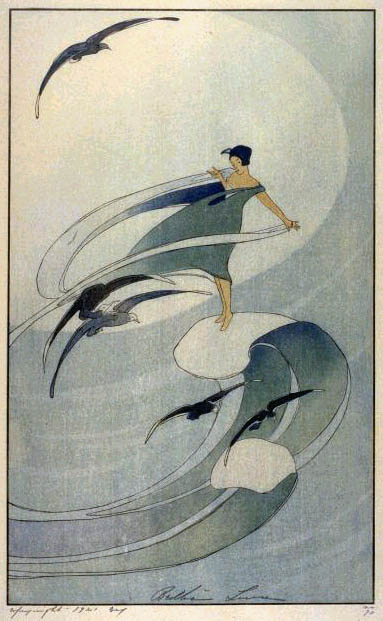 B. Lum, Wind Sprite, 1917 Color woodcut,