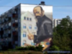 Mural représentant Julian Fałat à Toruń.