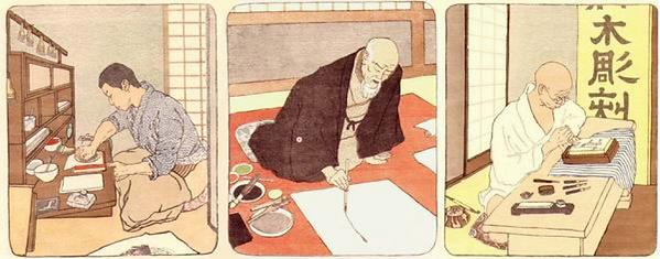 Peintre, graveur et imprimeur au Japon.p