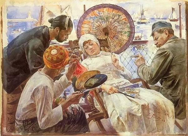 Sur_le_bateau_-_Colombo,_Ceylan,_aquarel