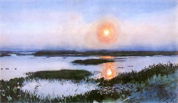 Coucher de soleil au-dessus des marais.p
