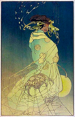 B. Lum, Spider Woman, 1936 Color woodcut