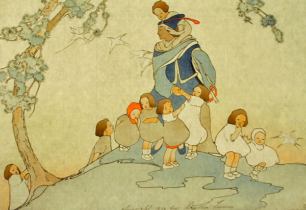 Lum, The Piper, 1916 color woodcut, 34,7