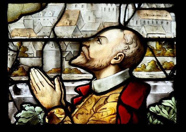 Détail du vitrail de la chapelle Saint-A