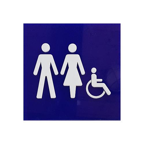 שלט מישוש לשירותי נשים וגברים נכים