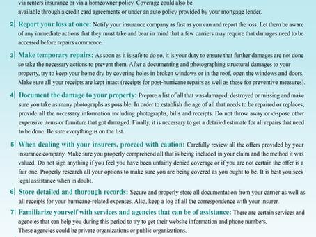 Fidens Insurance Hurricane Damage Checklist