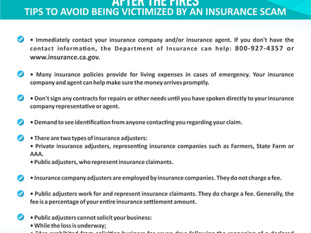 WOOSLEY FIRES: TIPS TO AVOID INSURANCE SCAMS