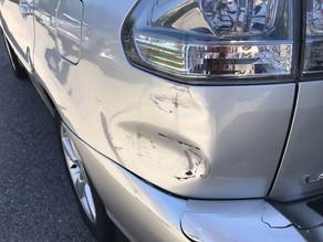 Rear left damage up close.