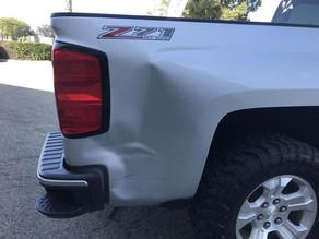 Right rear damage up close.