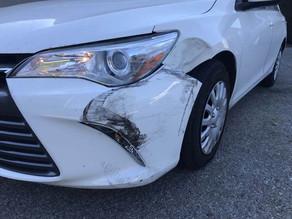 Left front damage up close.