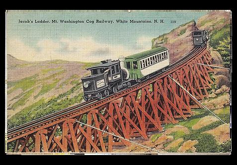Framed Postcard: Cog Railway, Mt. Washington NH