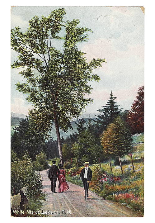 Framed Postcard: Walkers in Jackson, NH