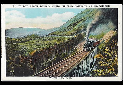 Framed Postcard of Train on Willey Brook Bridge