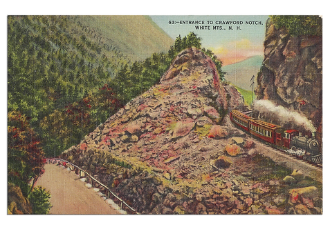 Framed Postcard of Crawford Notch, NH
