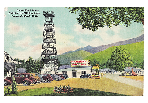 Framed Postcard of Indian Head Tower, NH