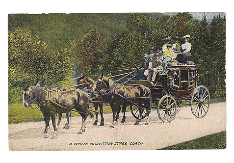 Framed Postcard: White Mountain Stage Coach, NH