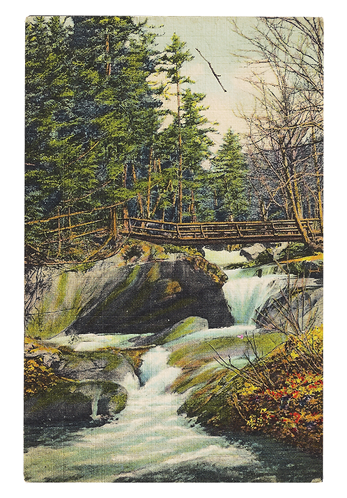 Framed Postcard of The Basin, White Mountains, NH