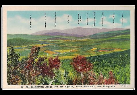 Framed Postcard of Presidential Range, NH