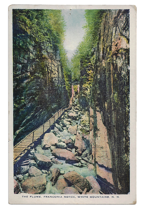 Framed Postcard of The Flume, NH