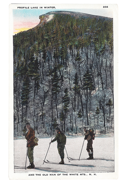 Framed Postcard: Skiiers on Profile Lake, NH