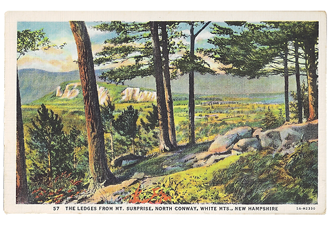 Framed Postcard of The Ledges, North Conway, NH