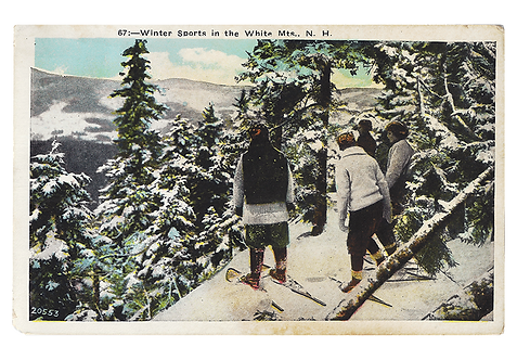 Framed Postcard: Skiiers, White Mountains, NH