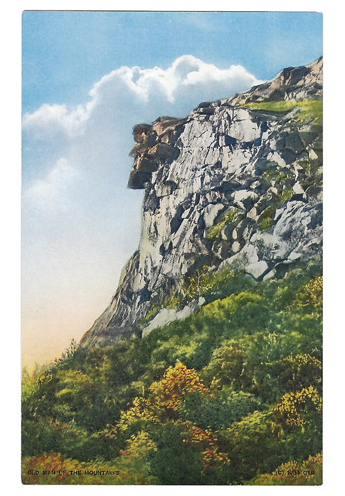 Framed Postcard of Old Man of the Mountains, NH