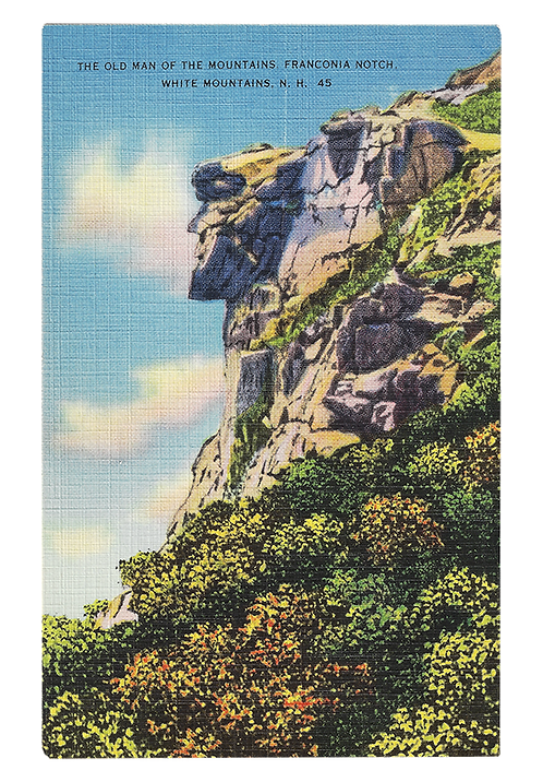 Framed Postcard: Old Man of the Mountain, NH