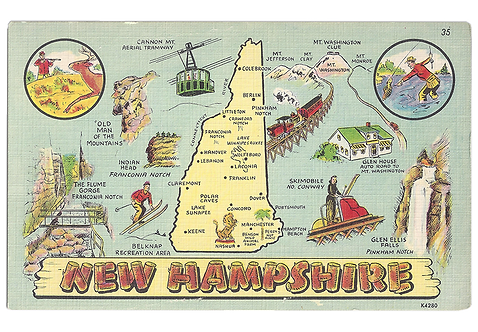 Framed Postcard of Illustrated NH Landmarks