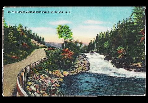 Framed Postcard: Ammonooscu Falls, NH