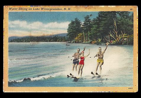 Framed Postcard: Water Skiers on Winnipesaukee, NH