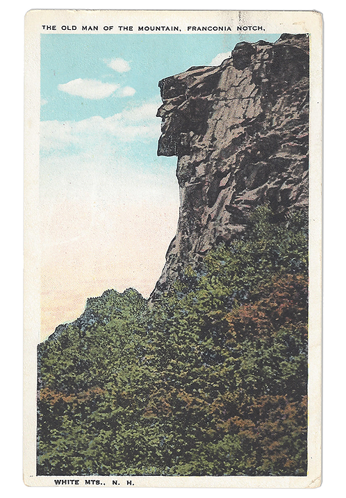 Framed Postcard of Old Man of the Mountain, N. H.