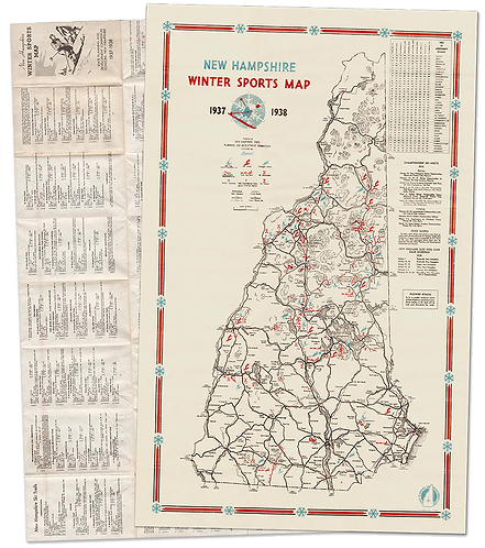 1937-38 New Hampshire Winter Sports Map
