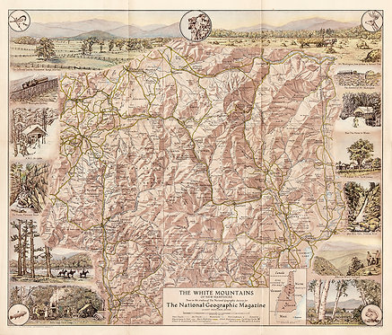 1937 National Geographic Map of White Mountains