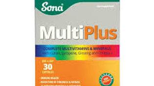 Sona Multiplus Boosts Immune Health & Mental Performance 30 Tablets