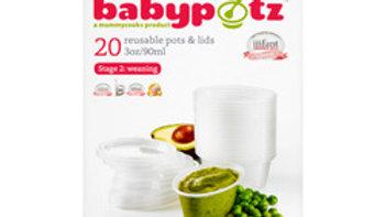 Babypotz 20 Reusable Pots & Lids 6mths + Weaning 90ml