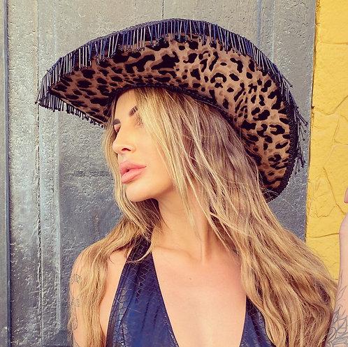 Leopard Cowboy Fringe Hat