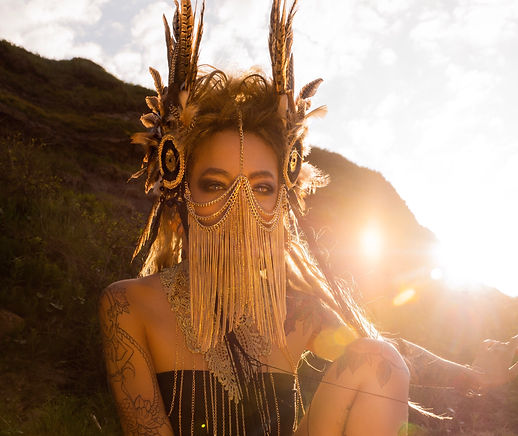 Feather headdress, warrior headdress, warrior woman, burningman fashion, fashion