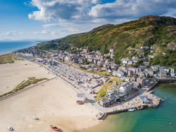 Aerial view of Barmouth and Afon Mawddac