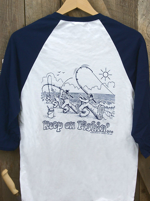 Keep On Fishin' 3/4 Sleeve Baseball Shirt