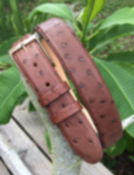 Wehmeiers Kango Brown South African Full Quill Ostrich Skin Leather Exotic Belt made in Louisiana, USA