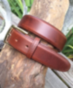 Wehmeier's Tan Saddle Leather Belt made in Louisiana, USA